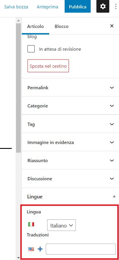 Impostare Lingua Per Post Polylang