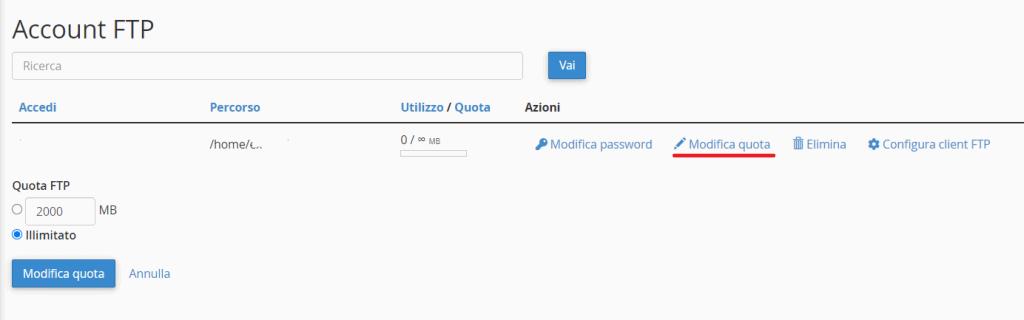 Modifica Quota Account Ftp