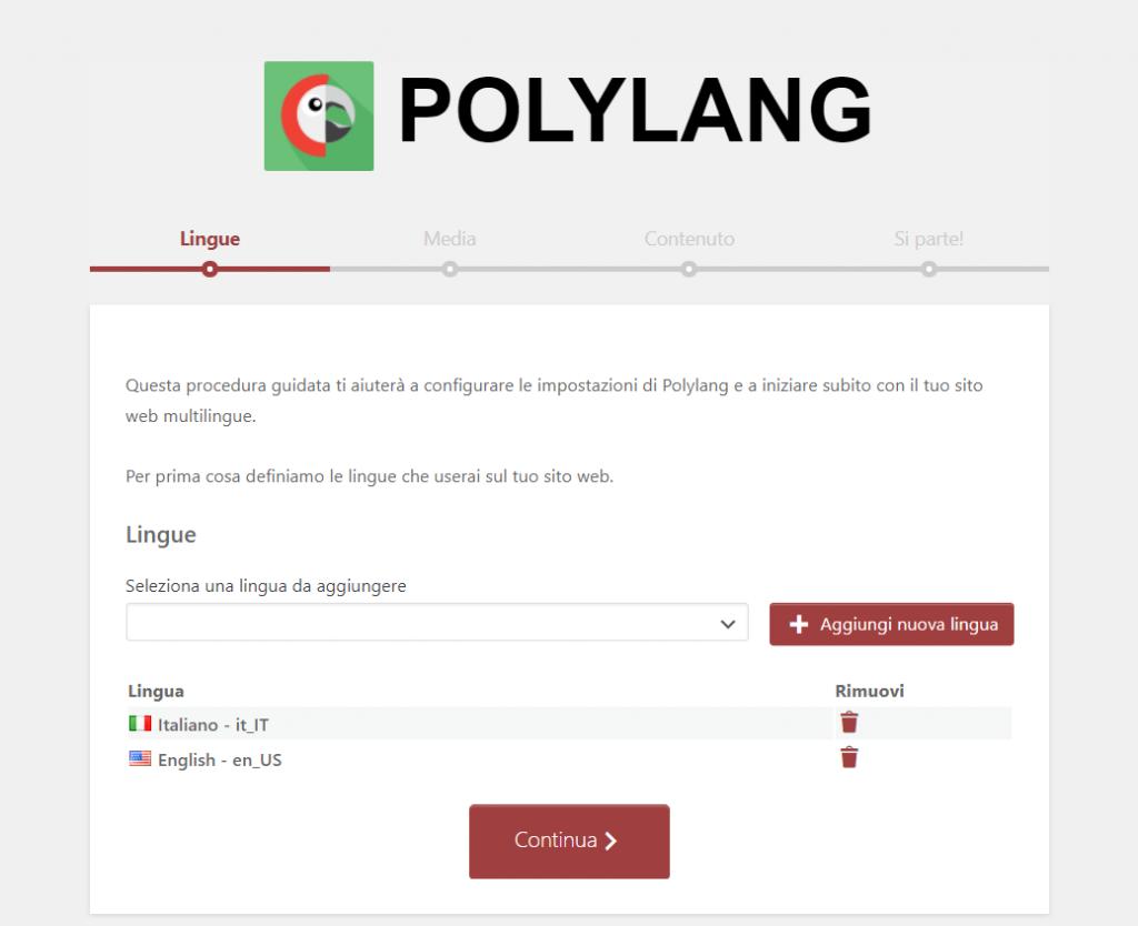 Polylang Scelta Lingue