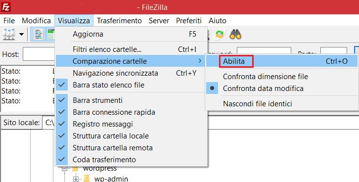Abilitare Comparazione Cartelle Filezilla