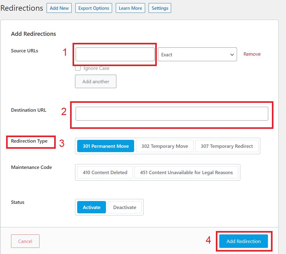 Aggiungere Redirect Rank Math