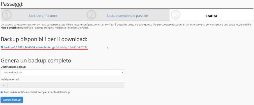 Backup Disponibili Per Il Download
