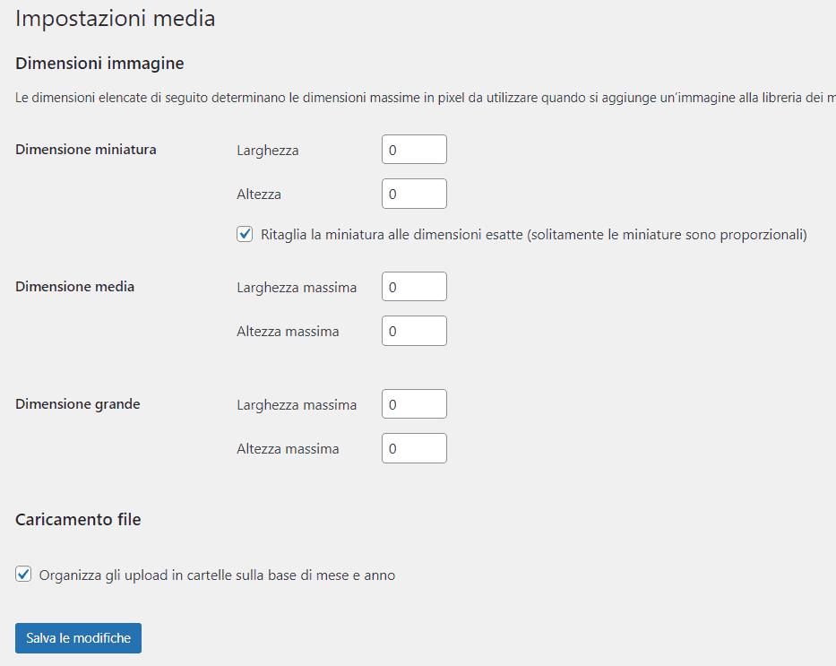 Cambiare Impostazioni Media WordPress