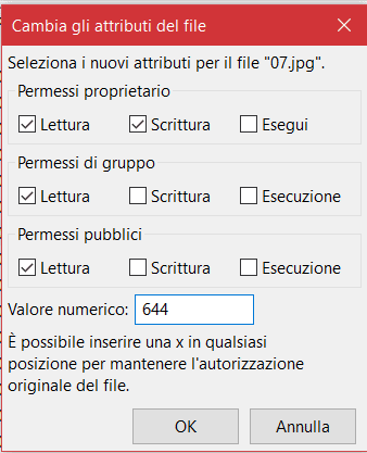 Cambiare Permessi File Filezilla