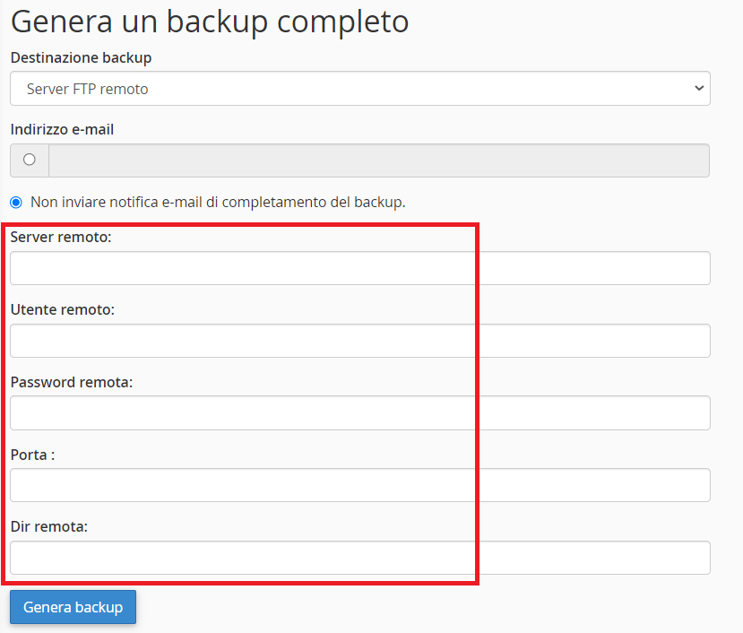 Campi Server Ftp Remoto