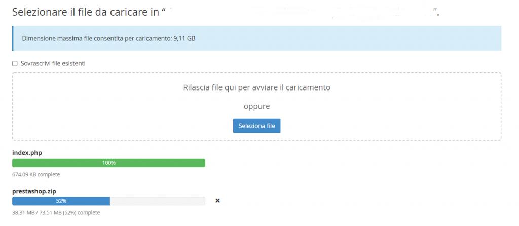 Caricamento File Installazione Prestashop