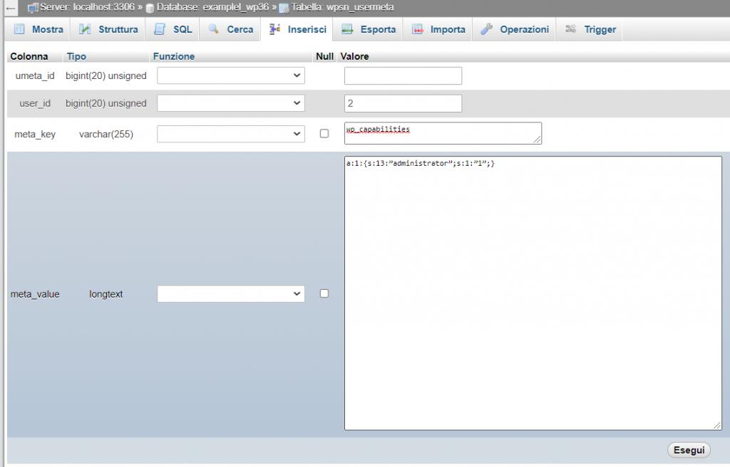 Creare Amministratore Da Database