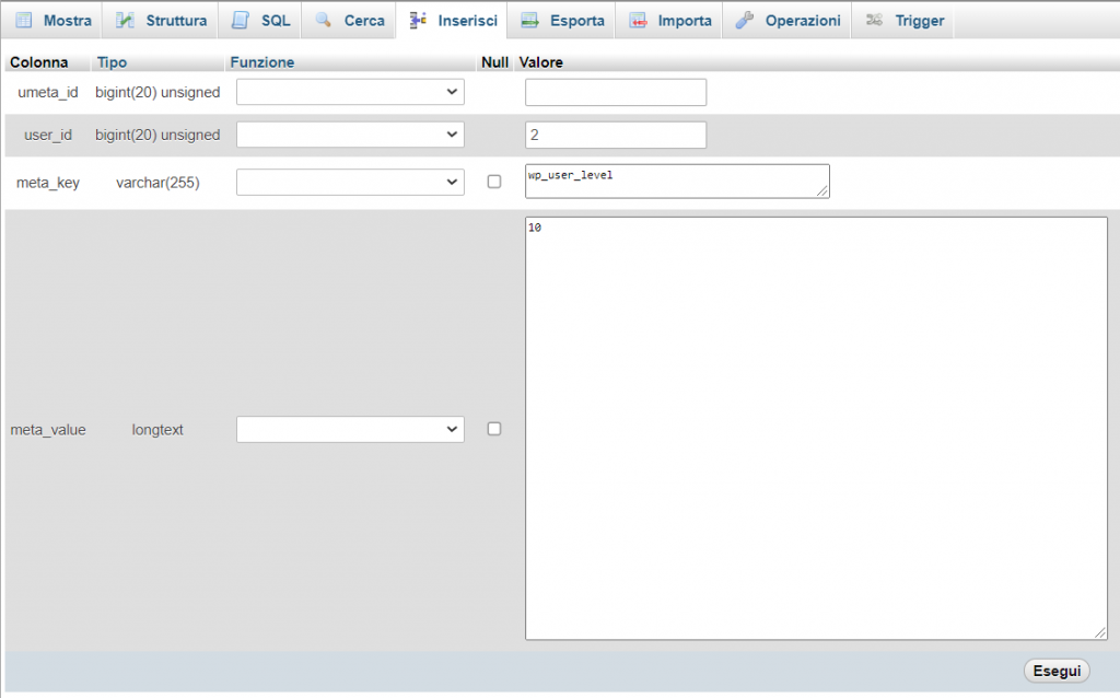 Creare Amministratore Da Database User Level