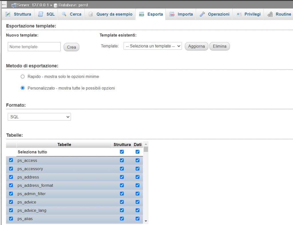 Esporta Database Metodo Personalizzato
