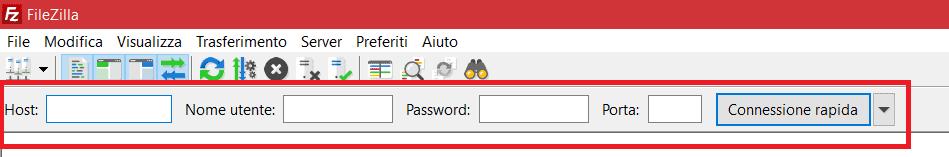 Filezilla Connessione Rapida