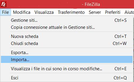 Importa Con Filezilla