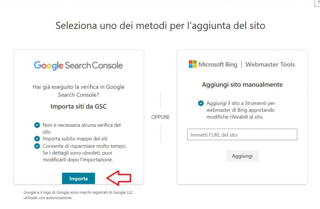 Importa Sito Da Search Console A Bing