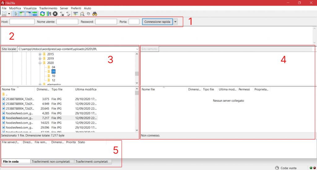 Interfaccia Filezilla