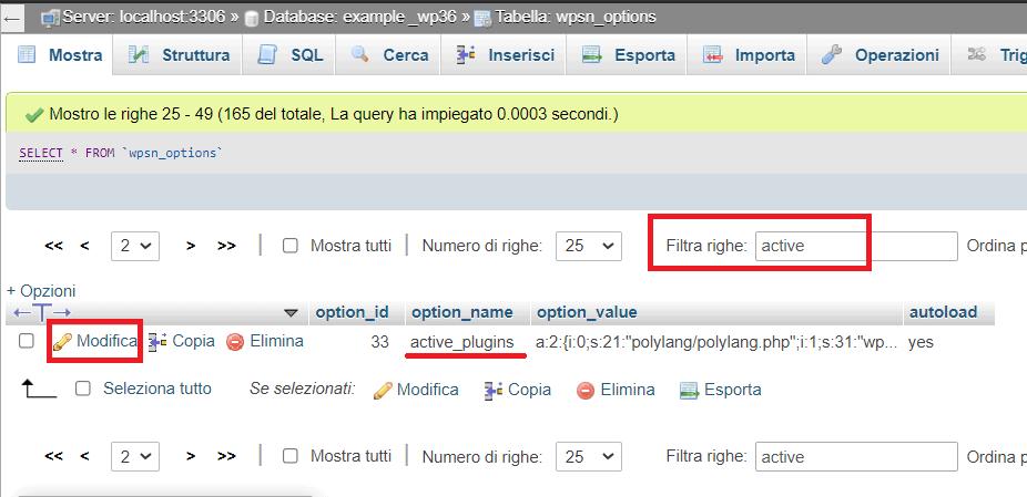 Modifica Active Plugins