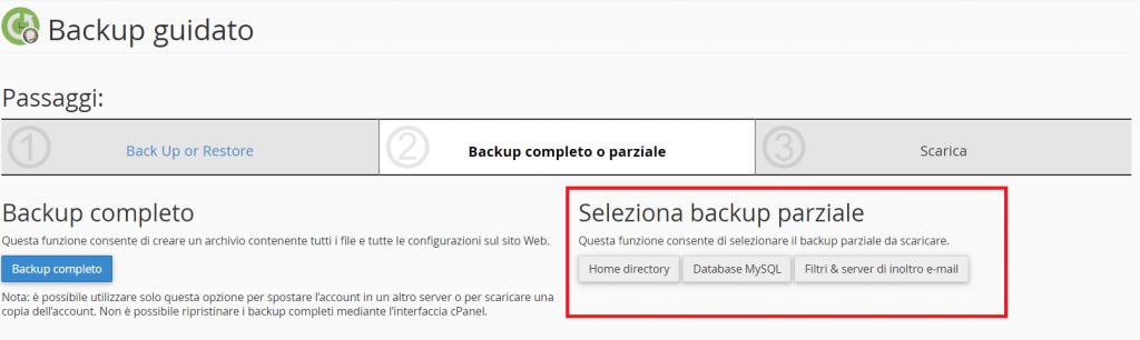 Opzioni Backup Parziale