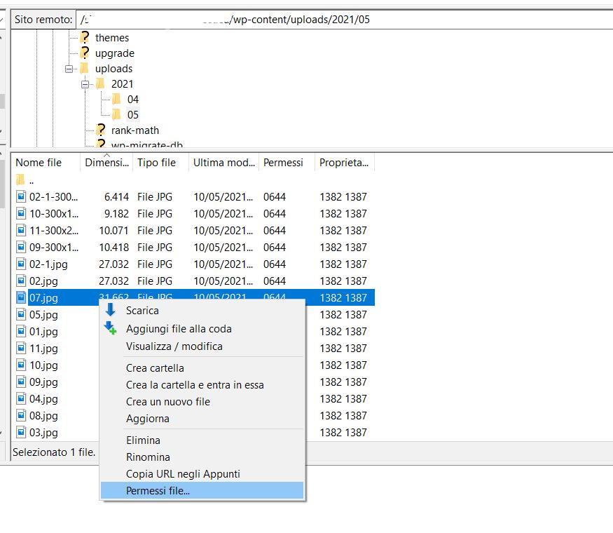 Permessi File Filezilla