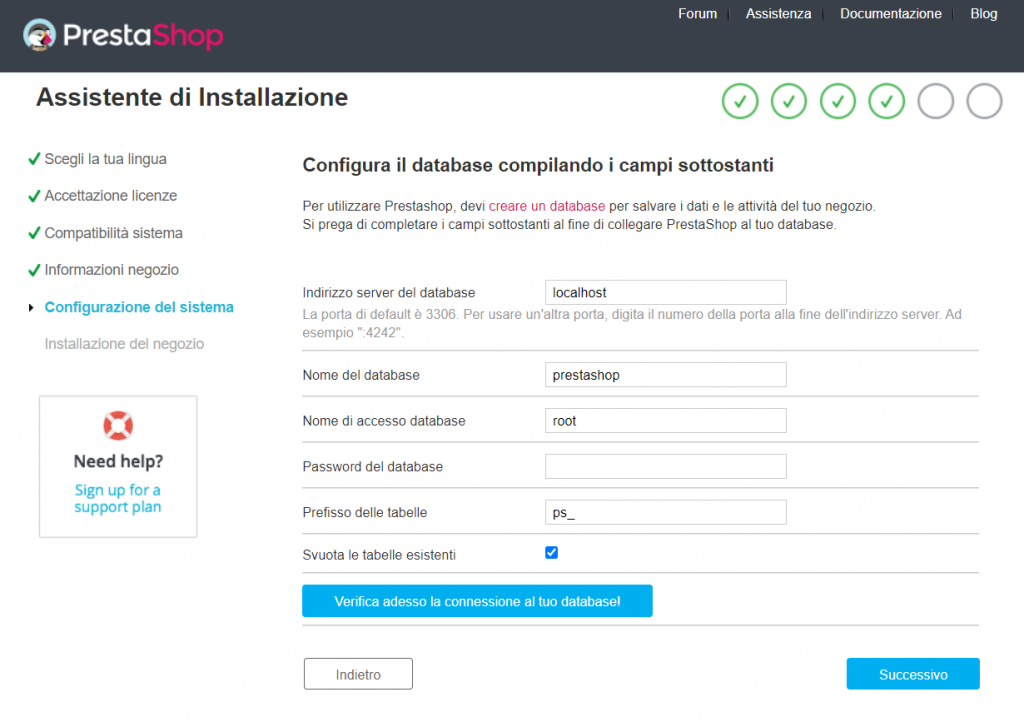 Prestashop Installer Configura Database