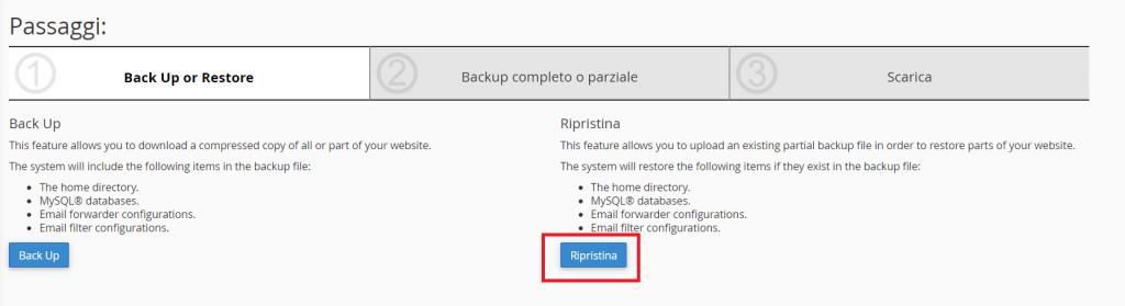 Ripristina Backup Parziale