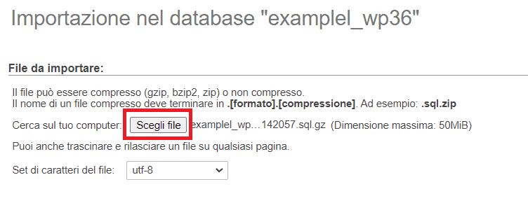Scegli File Phpmyadmin