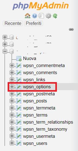Tabella Wp Options