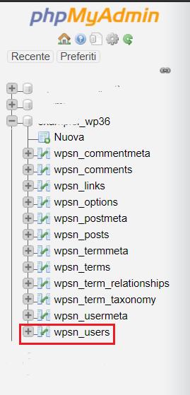 phpmyadmin wordpress Tabella Wp Users