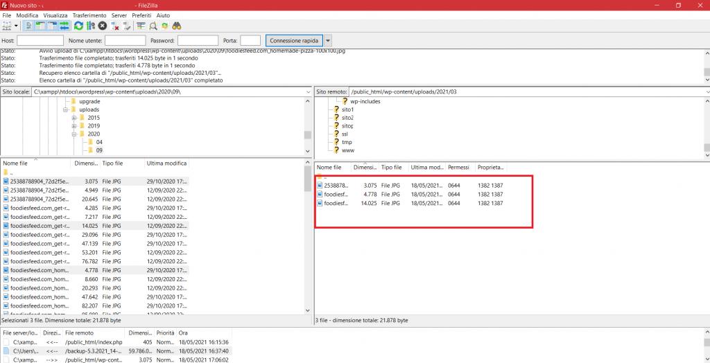 Trasferimento File Da Pc Al Server Completato