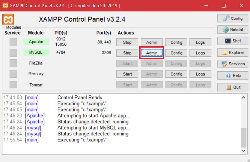 Xampp Admin Mysql
