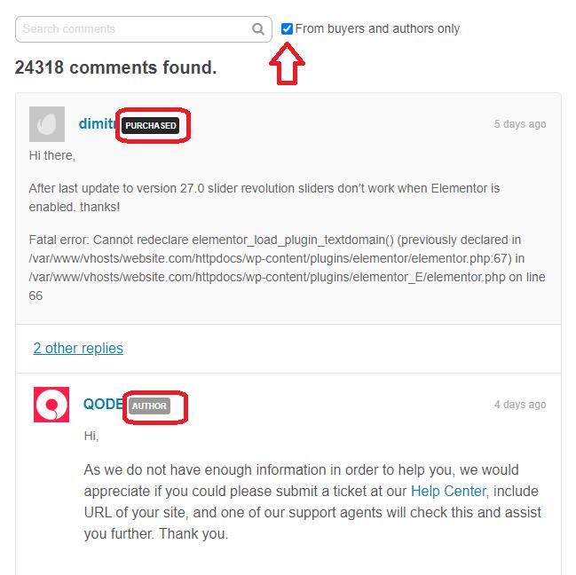 Filtrare Commenti Tema Themeforest