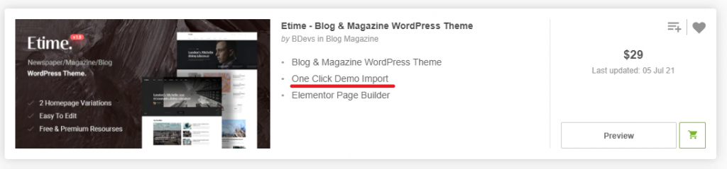Tema One Click Demo Import