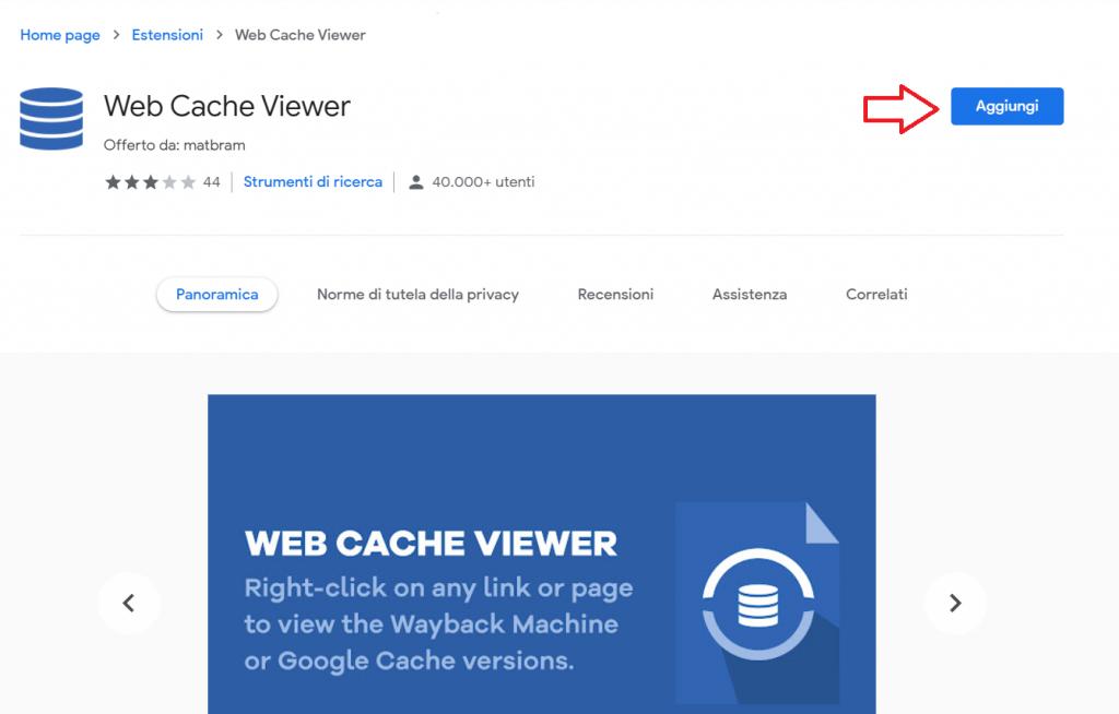 Web Cache Viewer Estensione Chrome