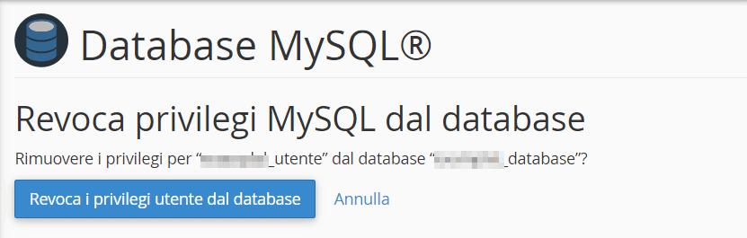 Conferma Rimuovi Utente Database