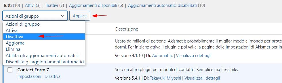 Disattivare Plugin WordPress Dashboard