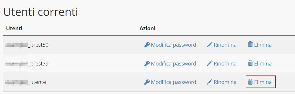 Eliminare Utente Database