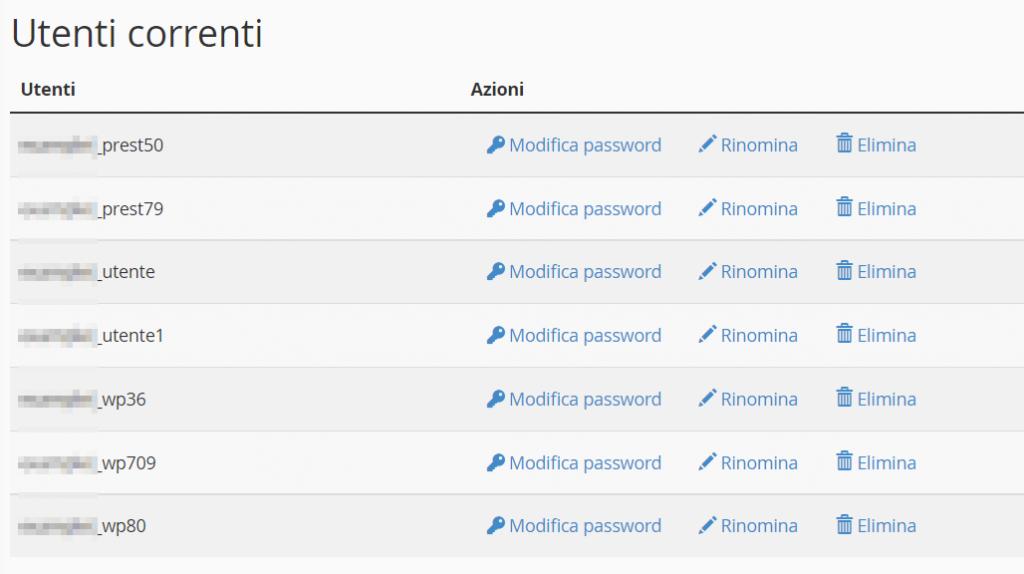 Lista Utenti Correnti Database Cpanel