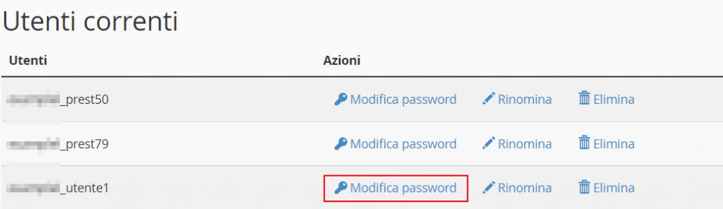 Modifica Password Utente Database