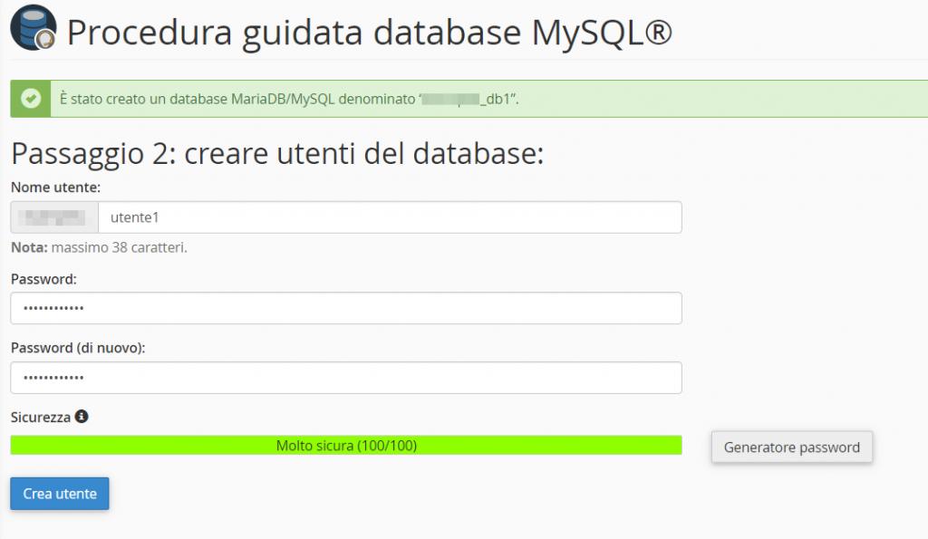 Procedura Guidata Database Mysql Passaggio 2