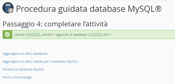 Procedura Guidata Database Mysql Passaggio 4