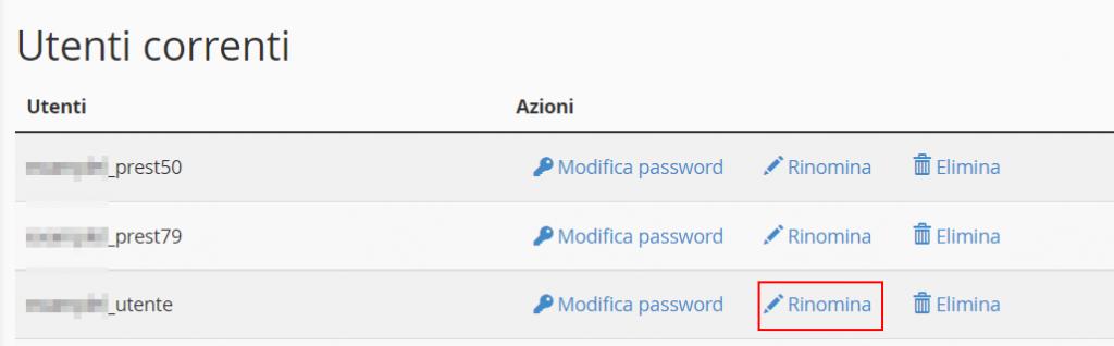 Rinomina Utente Database