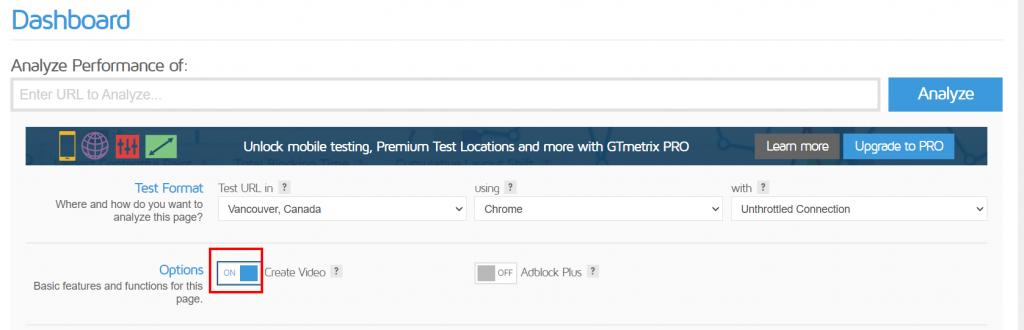 Abilitare Opzione Video Gtmetrix