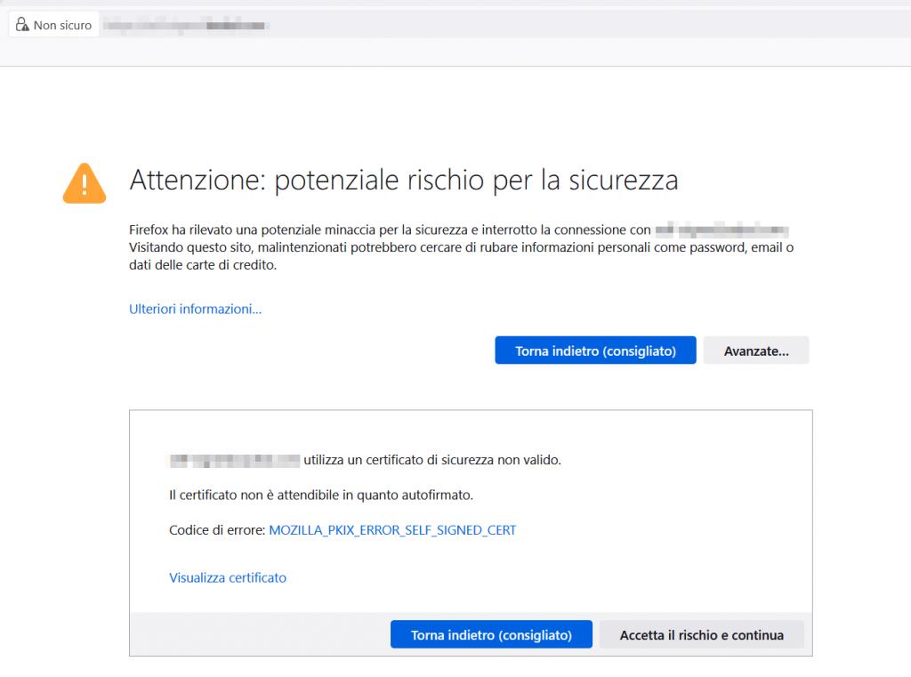 Certificato Autofirmato Firefox