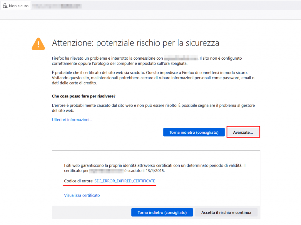 Certificato Ssl Scaduto Firefox
