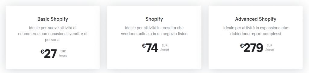 Creare Sito Ecommerce Piani Shopify