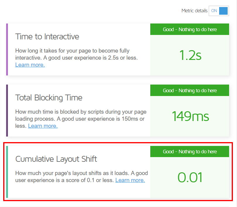 Cumulative Layout Shift Gtmetrix
