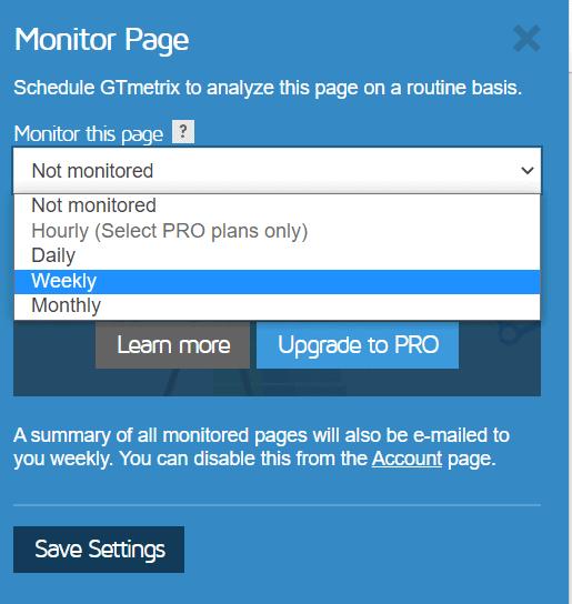 Frequenza Monitoraggio Pagina Gtmetrix