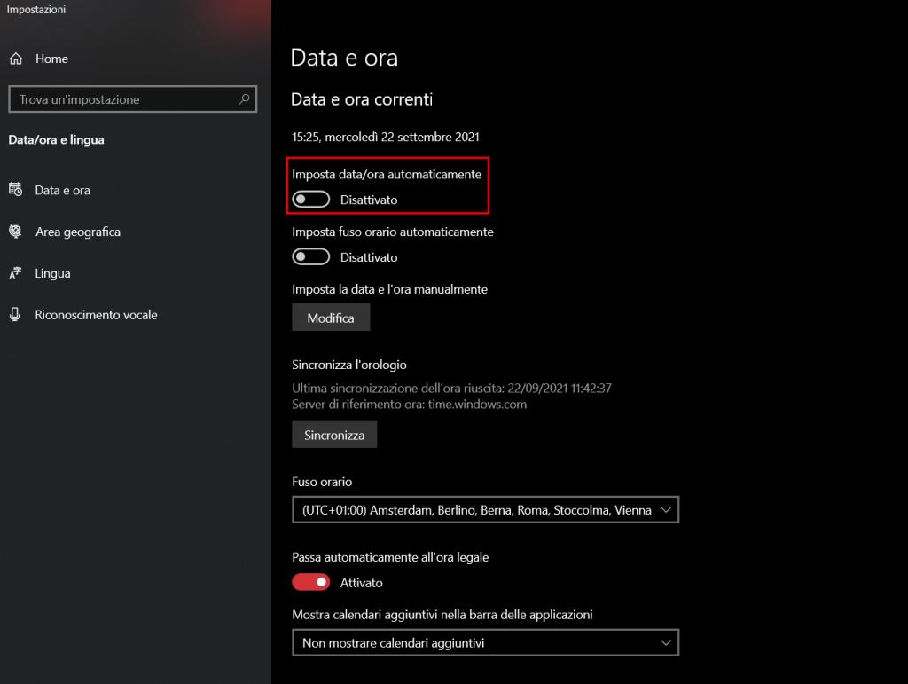 Imposta Data E Ora Automaticamente Windows 10