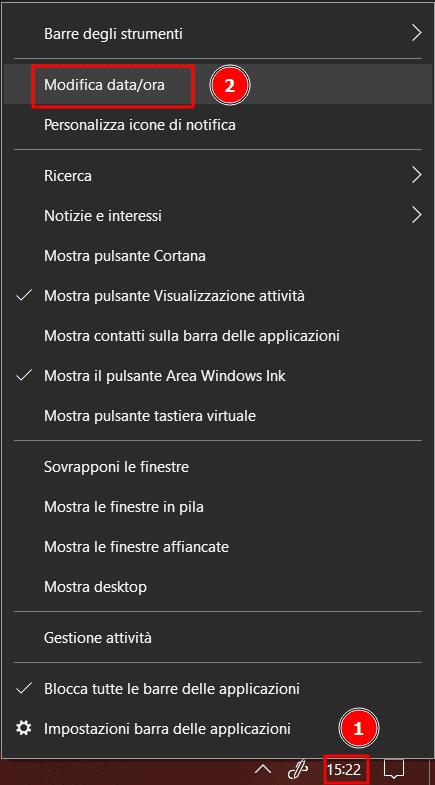 Modifica Data Ora Windows 10