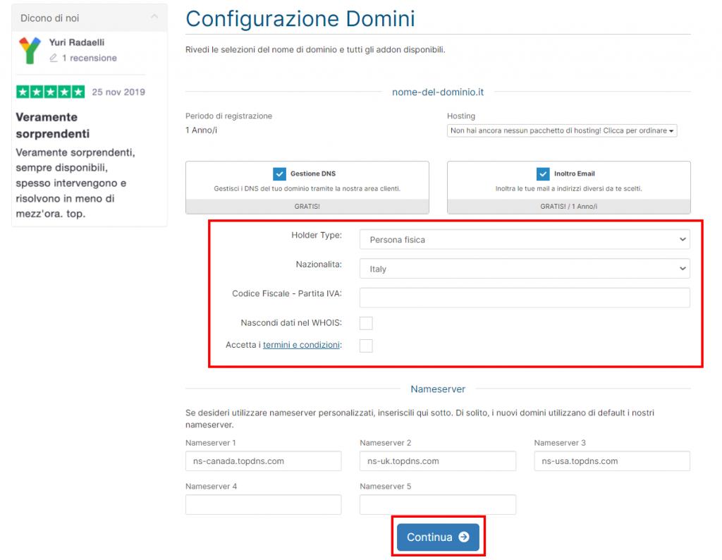 Registrazione Dominio Supporthost
