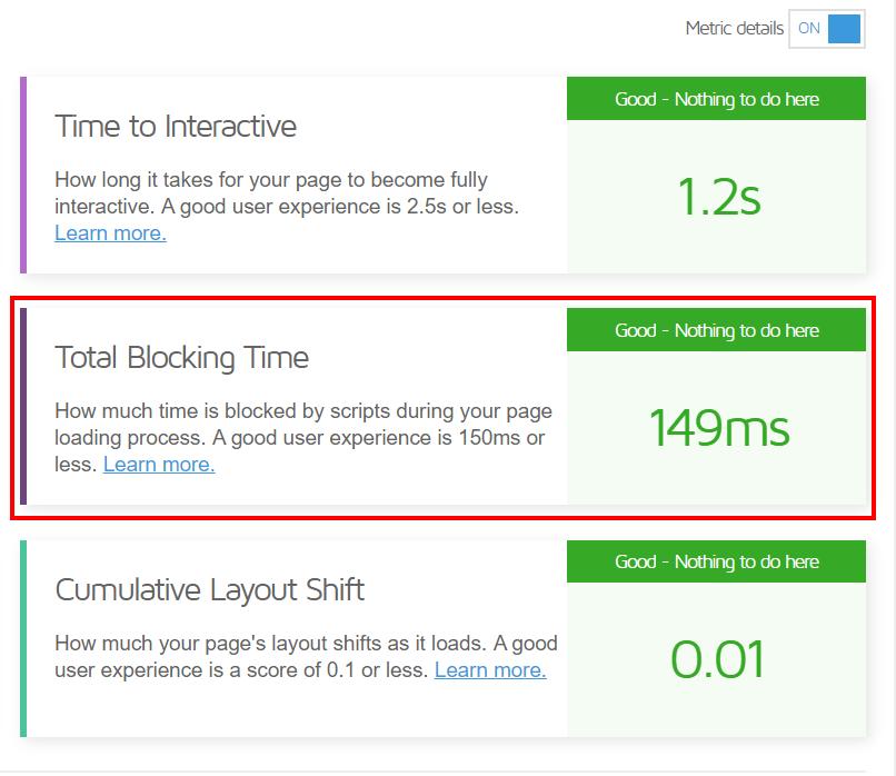 Total Blocking Time Gtmetrix