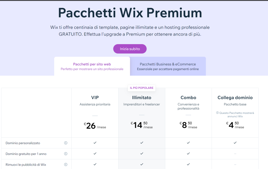 Pacchetti Wix Premium