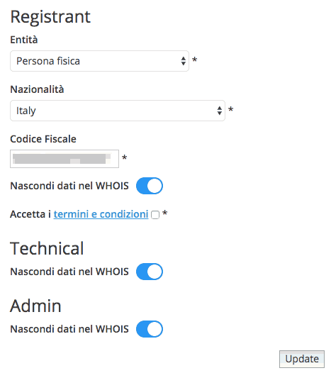 Enable and Disable WHOIS Protection for .it domains